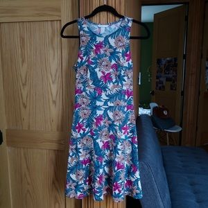 Beautiful Vibrant Floral A-Line Skater Dress!